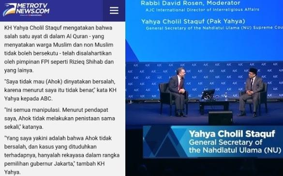 Jejak Digital Yahya Staquf Mendukung Ahok Dalam Kasus Penistaan Al-Quran