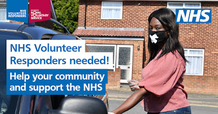 Text NHS Volunteer Responders needed and image of happy lady in mask getting into a car