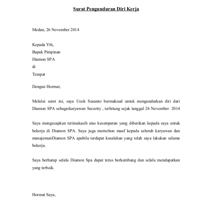 Surat Pengunduran Diri Karyawan Kontrak Just4udakar Com