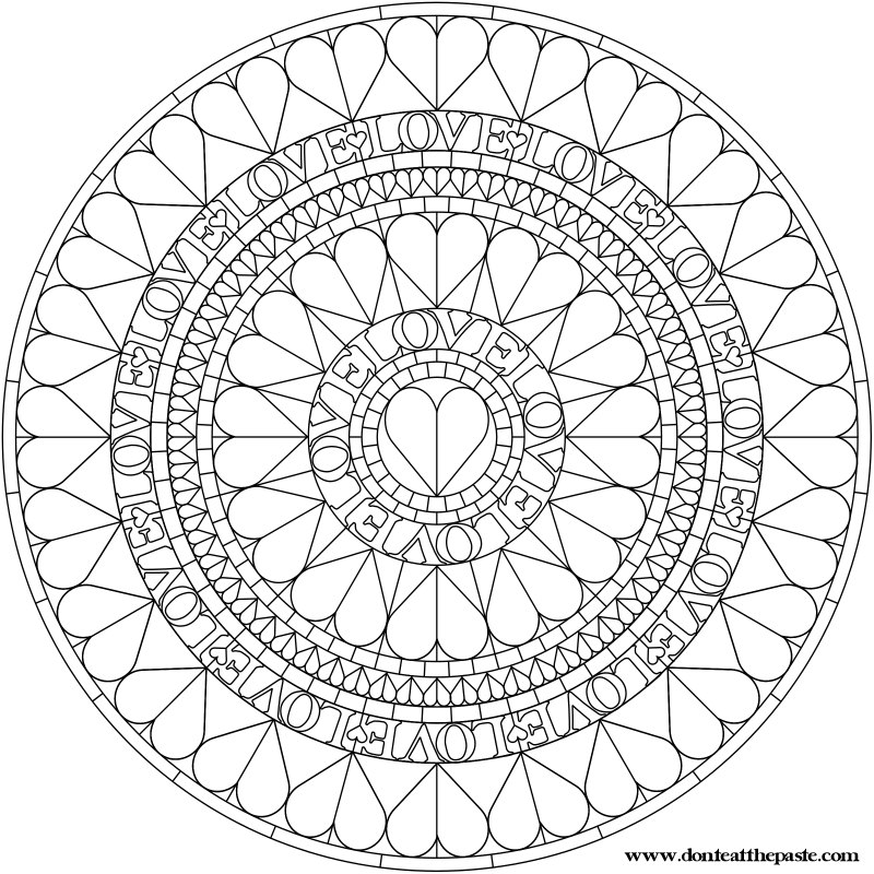 Don't Eat the Paste: Hearts Mandala to Color
