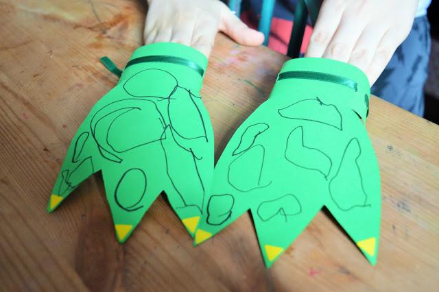 Cardboard dinosaur claws.