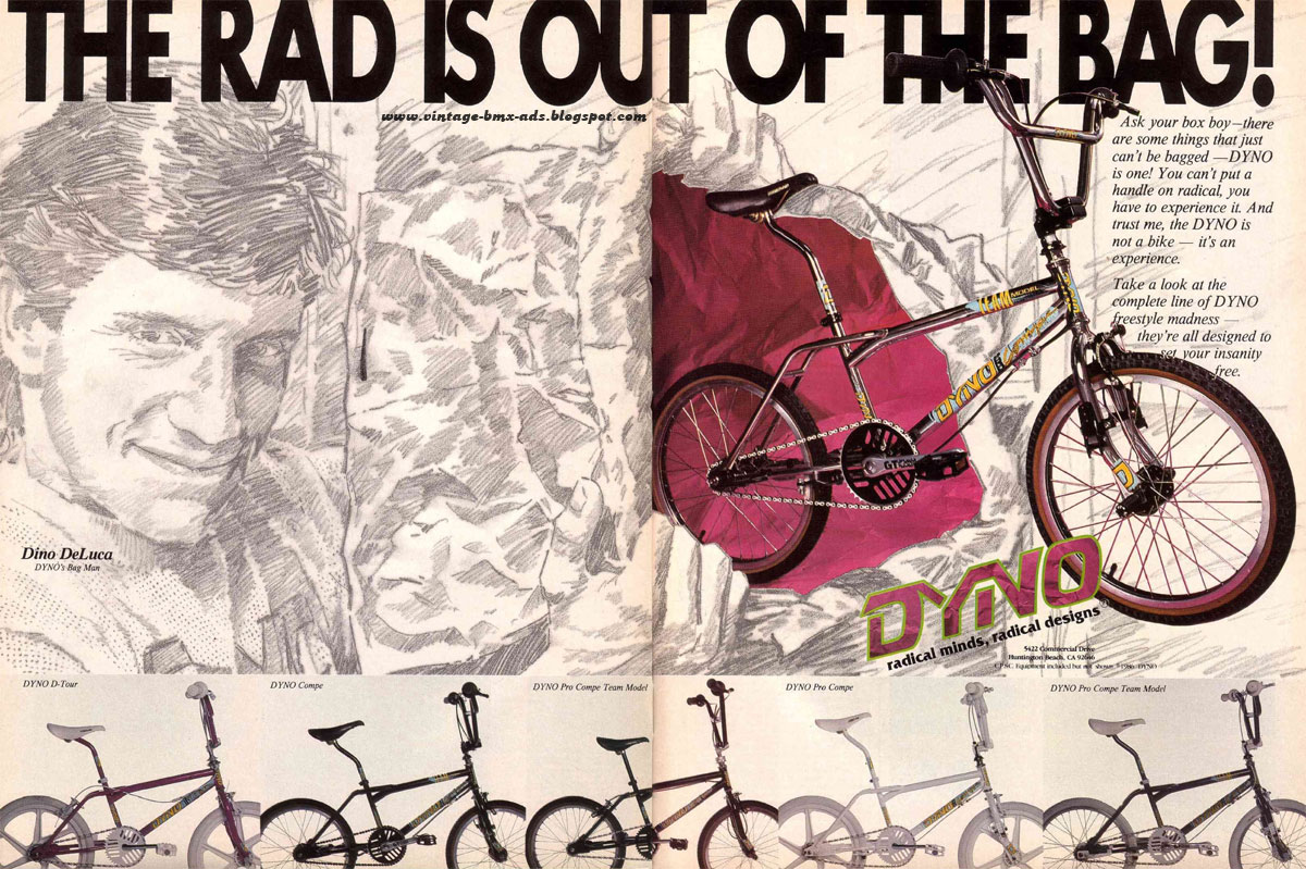Vintage BMX Ads: THE RAD IS OUT OF THE BAG! - DYNO radical minds