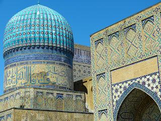 Matéria do blog 'lugares de memória' sobre Samarcanda, localizada no Uzbequistão., Ásia Central .