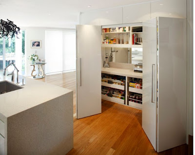 hidden kitchen design ideas - partially hidden behind folding door