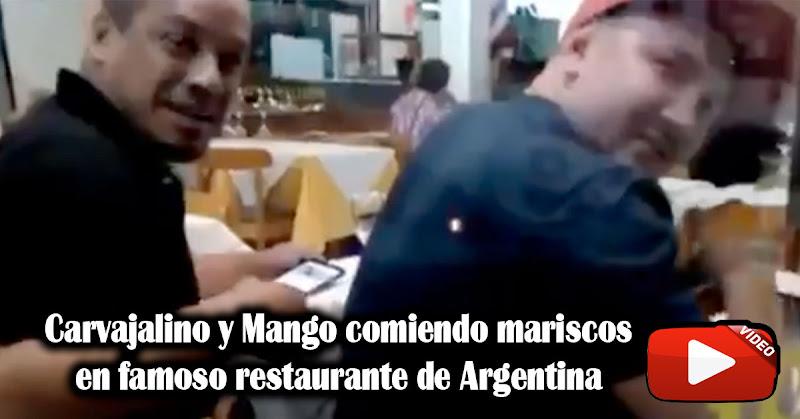 Carvajalino y Mango comiendo mariscos en famoso restaurante de Argentina