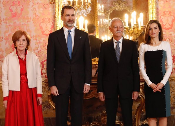 King Felipe and Queen Letizia of Spain attend an official lunch for 'Miguel de Cervantes 2016' Literature award at the Royal Palace
