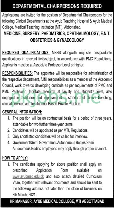 Latest Ayub Medical College Management Posts 2021