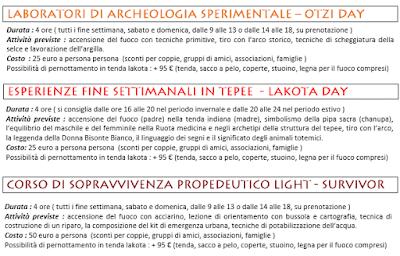 Tariffe Corsi Archeoparco Vulcano 2016
