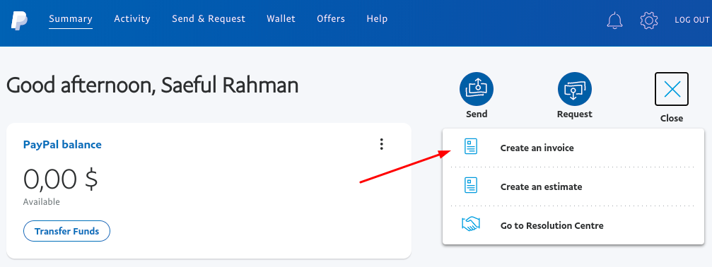Create an Invoice PayPal