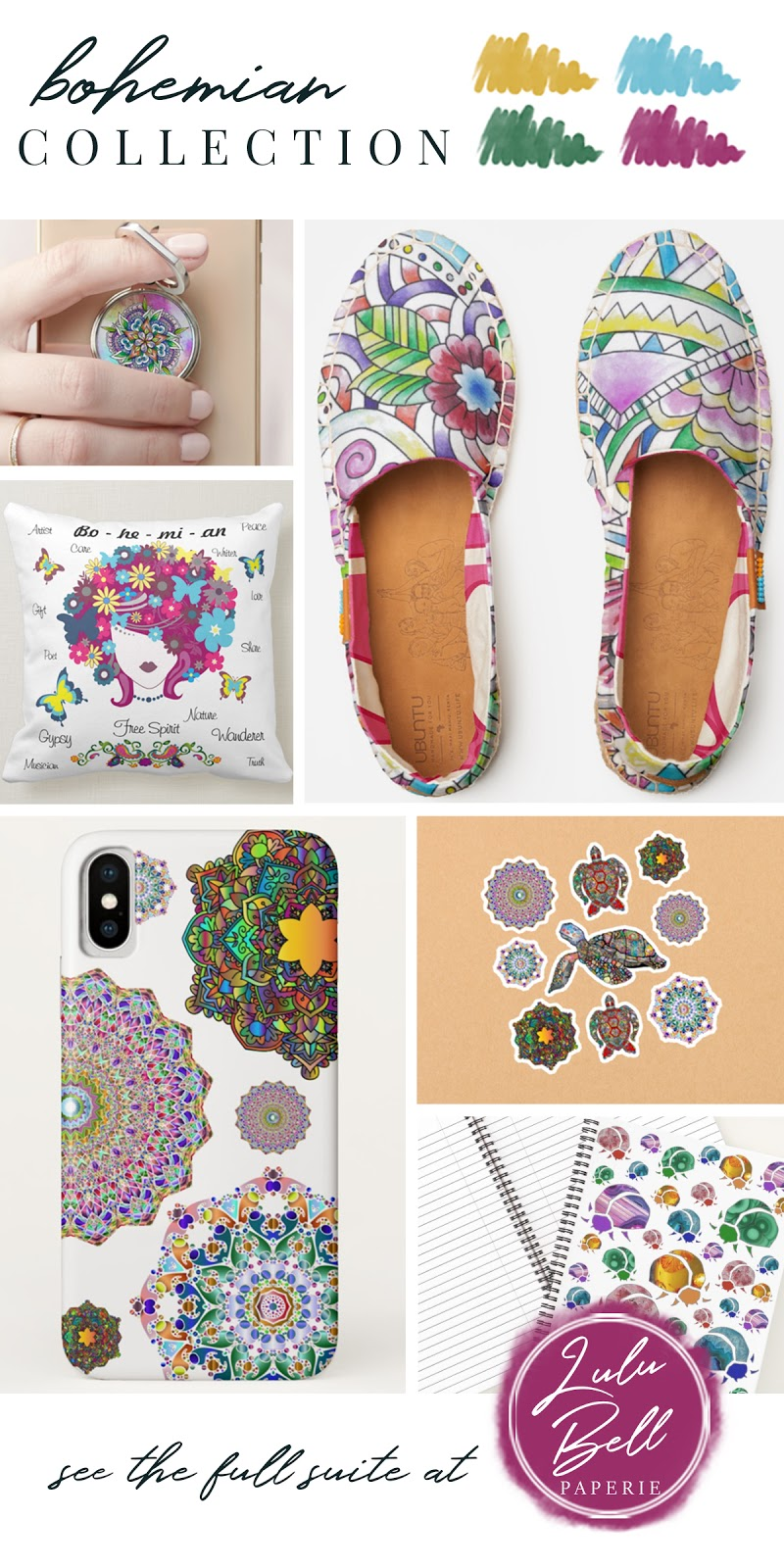 Bohemian Rainbow Home & Gifts Collection - Phone Ring Stand , Espadrilles Shoes, Throw Pillow, Mandala Phone Case, Turtle Stickers, and Beetle Bug Notebook