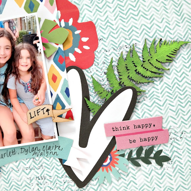 DIY Wood Veneer Flip Up Photo Tag on Summer Vacation Scrapbook Layout