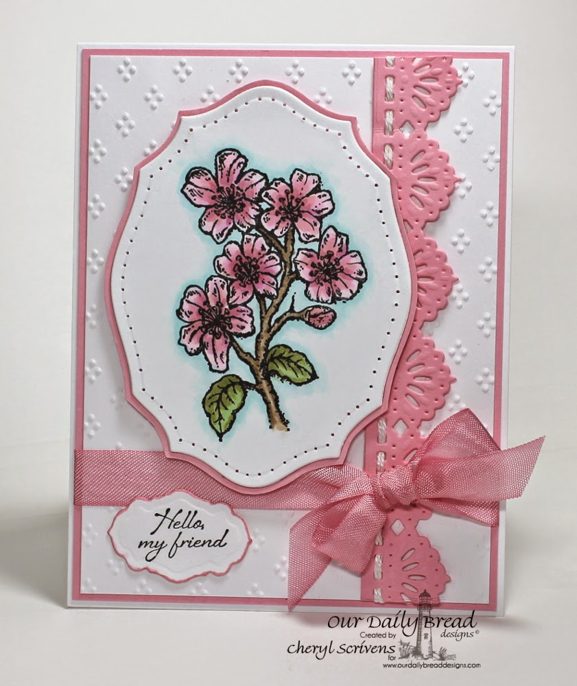 Our Daily Bread Designs, ODBDSLC211, Cherry Blossom, Iris, Antique Labels & Border dies, Beautiful Borders dies, Elegant Ovals dies, CherylQuilts, Designed by Cheryl Scrivens