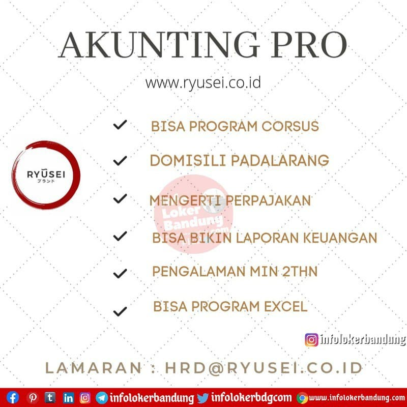 Lowongan Kerja Akunting Pro Ryusei Bandung Januari 2021
