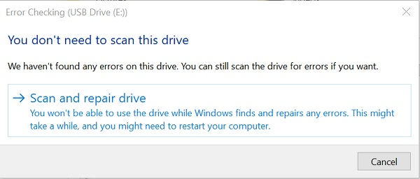 scan and repair drive