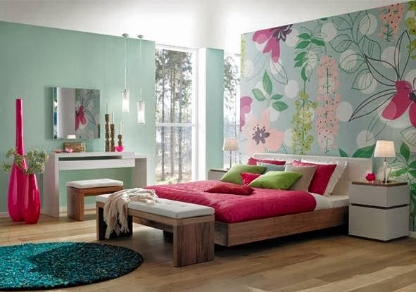 Dormitorios en turquesa y fucsia ideas para decorar - Azul turquesa pared ...