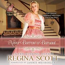 Never Borrow a Baronet audiobook cover. A blonde woman in a pink gown stands before a sweeping staircase.