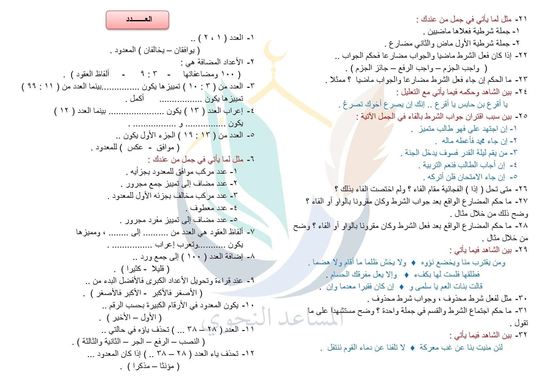 مراجعة منهج النحو للصف الثالث الثانوي العلمي (الأزهري) 4