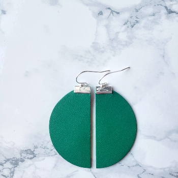 Green genuine leather and sterling silver half circle earrings
