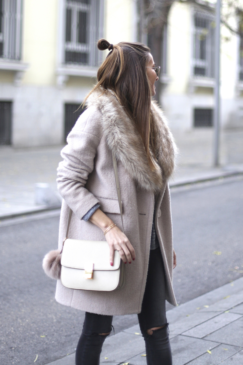 Bartabac - Blush Pink Faux Fur Wool Coat + Celine Bag