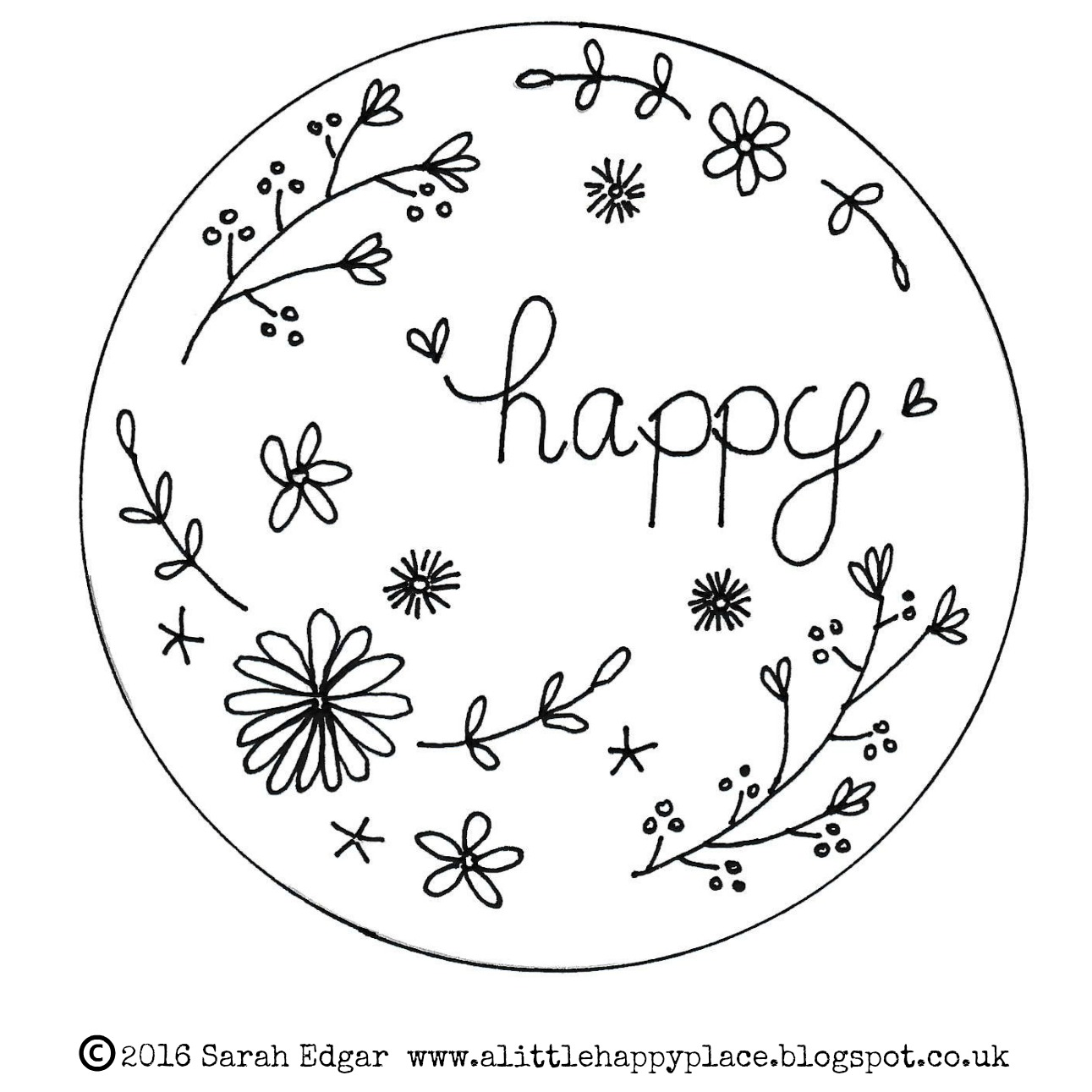 A little happy place stitches free embroidery pattern