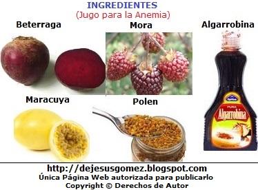 Imagen de ingredientes jugo sanador para la anemia por Jesus Gómez