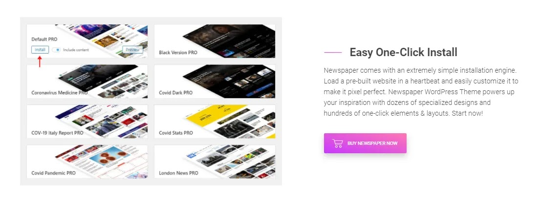 Newspaper x theme one click demo installation features