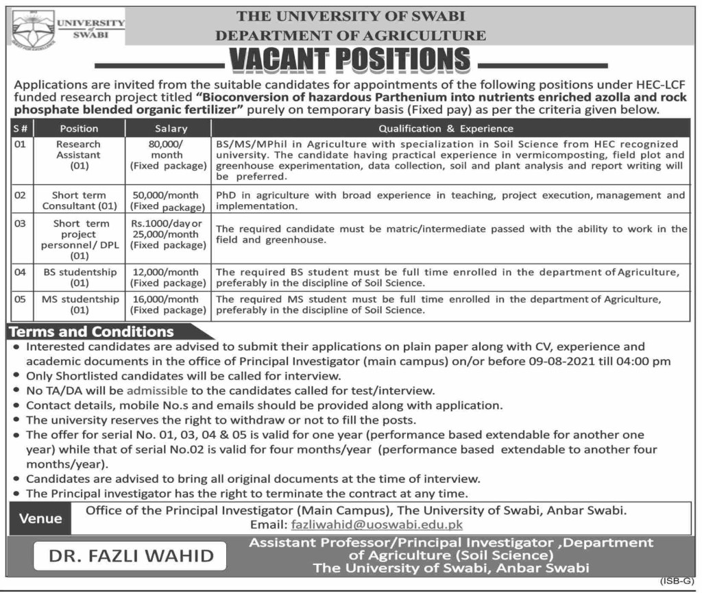 www.uoswabi.edu.pk Jobs 2021 - University of Swabi Jobs 2021 in Pakistan
