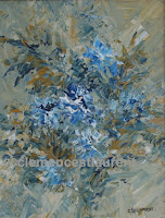 Reminiscence, 10 x 8 painting of blue-white flowers by Clemence St. Laurent