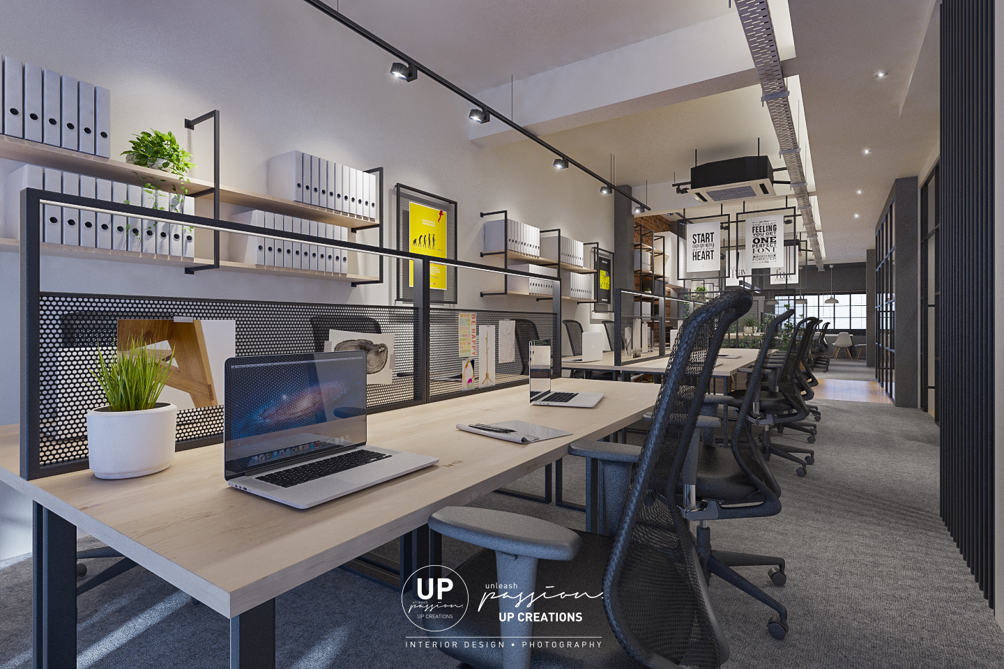 Subang vox eureka office working area with wood top table, black color racking and wood shelf, black color wire mesh table divider with led light