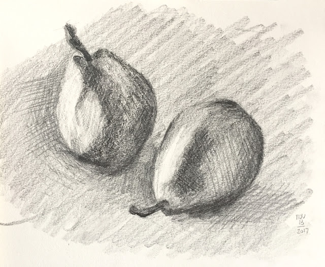 Daily Art 11-18-17 still life sketch in graphite number 20 - pears