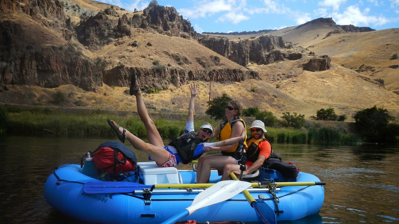 Topless girls rafting
