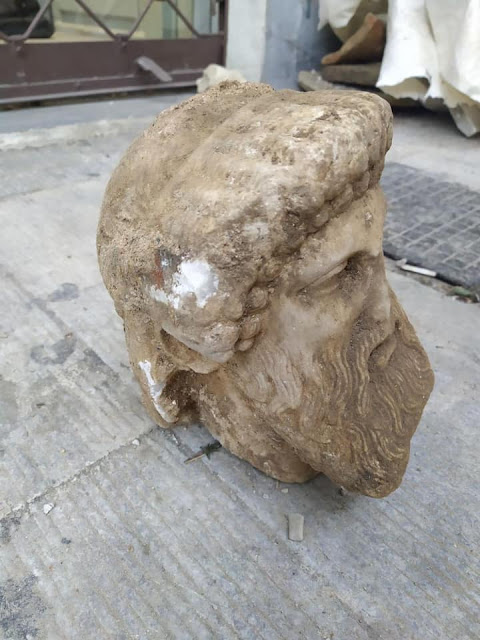 Construction workers unearth ancient bust of Hermes in Downtown Athens