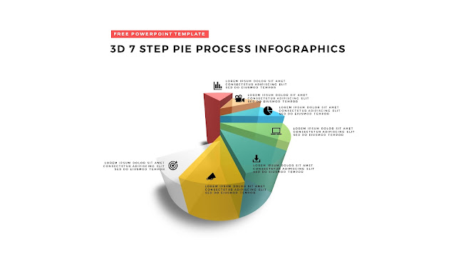 7 Step 3D Pie Chart Design Elements for PowerPoint Templates