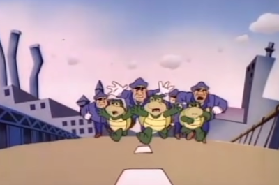 Super Mario Bros. Super Show Flatbush Koopa Troopa cops police chase bridge