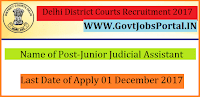 Delhi District Courts Recruitment 2017– 288 Junior Judicial Assistant