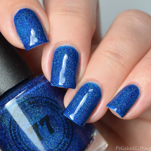 azure blue holographic nail polish