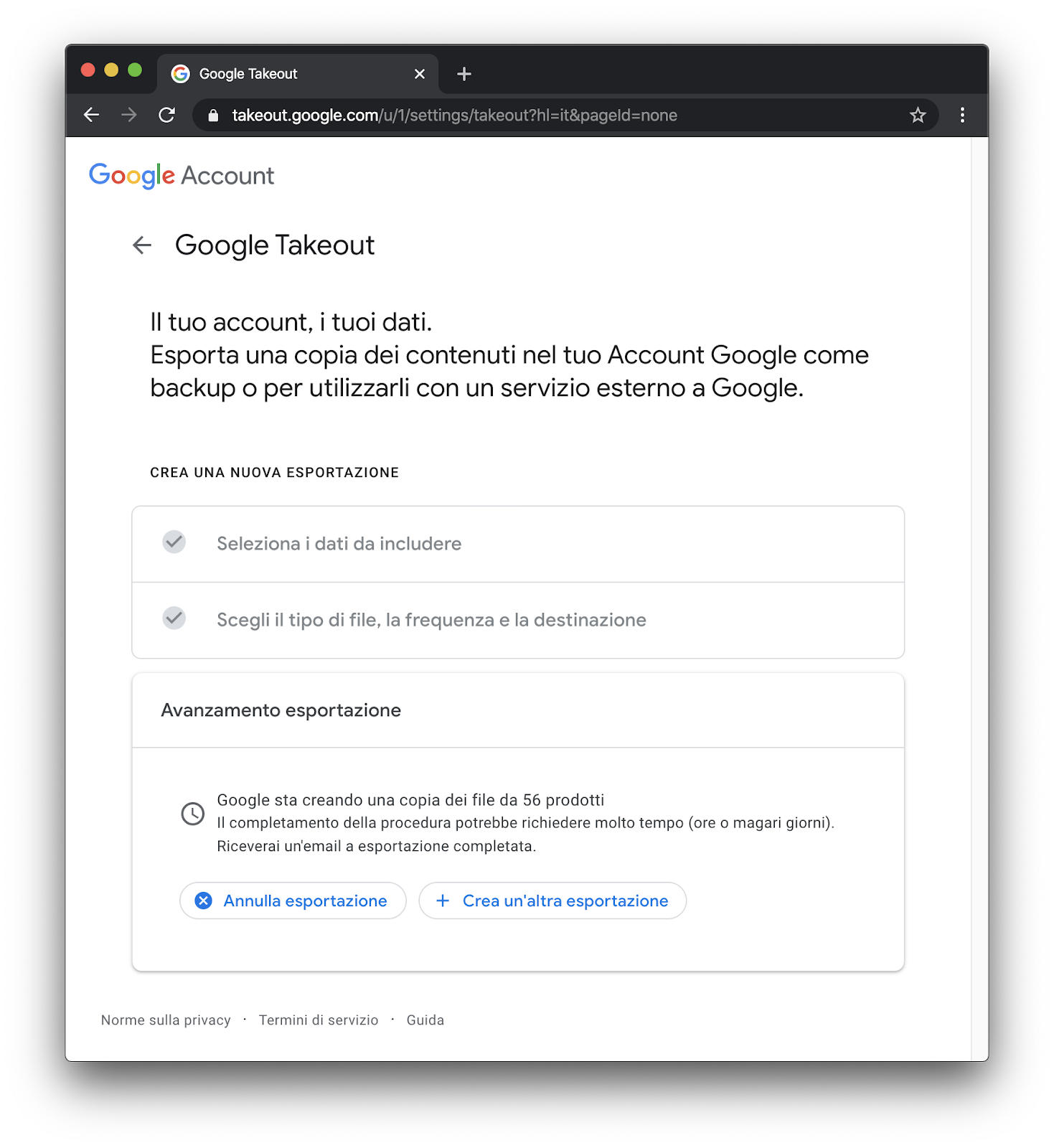Come fare il backup dell'account di Google