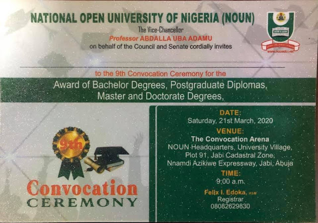 NOUN 9th Convocation Ceremony Programme of Events 2020 [Updated]