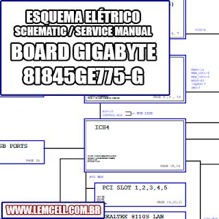 Esquema Elétrico Placa mãe Gigabyte GA-8I845GE775-G Motherboard Manual de Serviço  Service Manual schematic Diagram Gigabyte GA - 8I845GE775 G Motherboard    Esquematico Gigabyte GA - 8I845GE775-G Motherboard