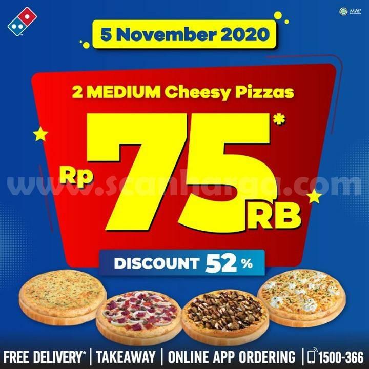 Domino's Pizza Promo 2 Medium Cheese Pizza cuma Rp 75.000,-