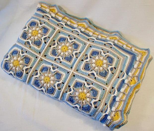 Crochet Baby Blanket, Overlay Crochet Square Motif