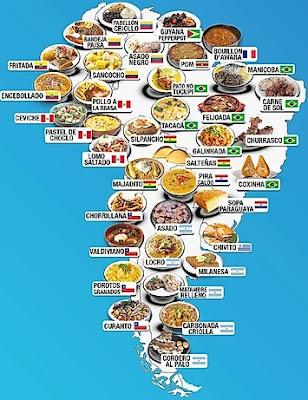 mapa da america latina com comidas tipicas