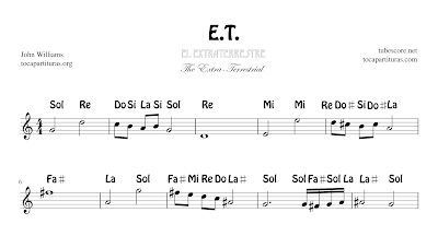 ET Partitura de Flauta, Violín, Saxofón Alto, Trompeta, Viola, Oboe, Clarinete, Saxo Tenor, Soprano Sax, Trombón, Chelo, Fagot, Trompa, Corno, Contrabajo, Tuba...Tablaturas de Guitarra, Ukelele y Banjo Tabs