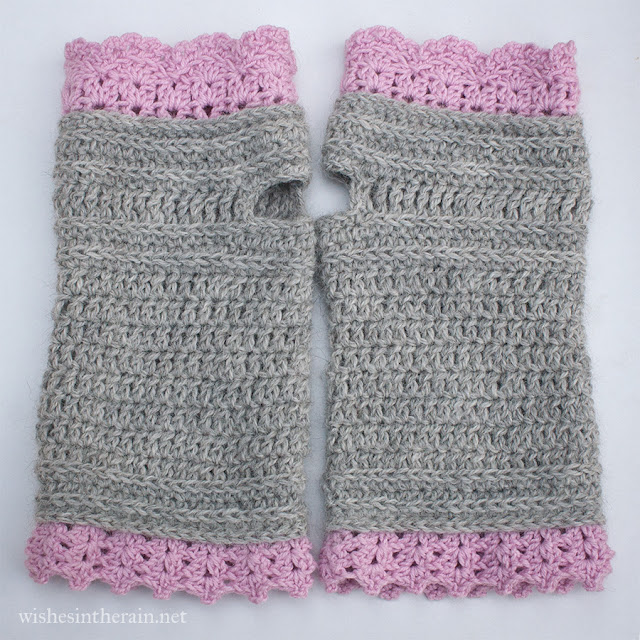 pair of crochet wrist warmers or fingerless gloves - www.wishesintherain.net