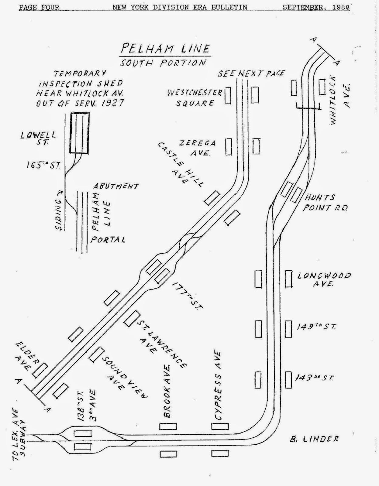 Pelham subway line track plan as of 1988
