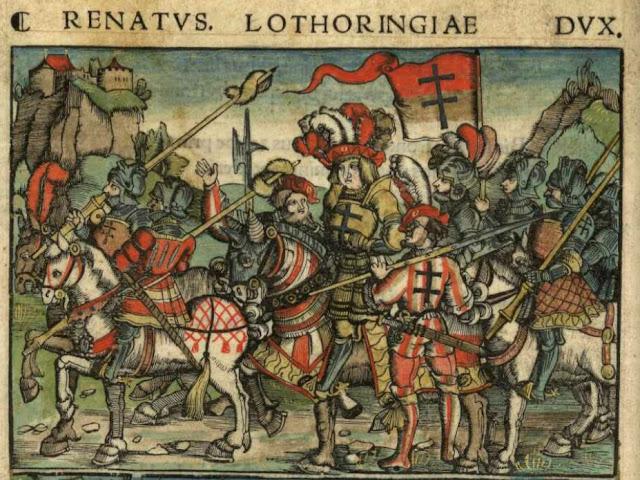 """""""Le duc René II entouré de ses troupes""""  Miniature du manuscrit """"La Nancéide"""" de Pierre de Blarru. 1518."""