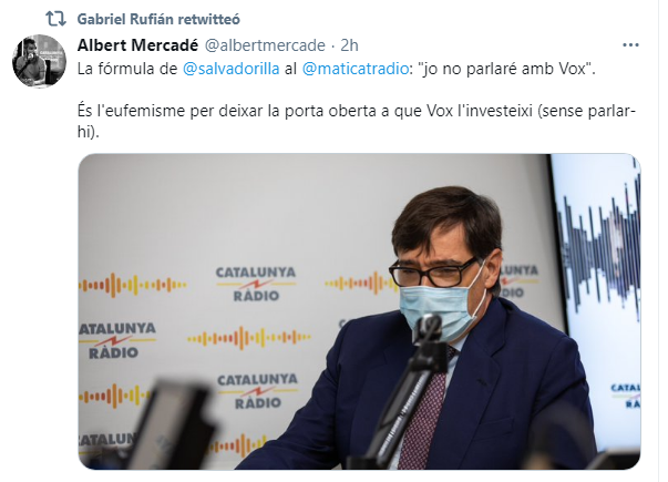 Gabriel Rufián se niega a condenar la violencia contra Vox