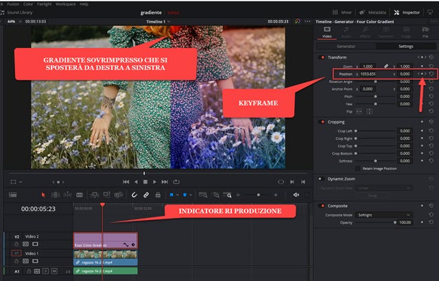 animare gradiente di davinci resolve
