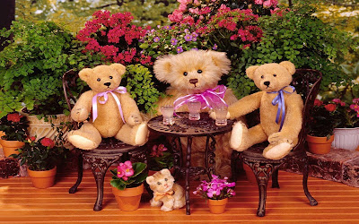 teddys-making-party-in-flower-garden-wallpaper