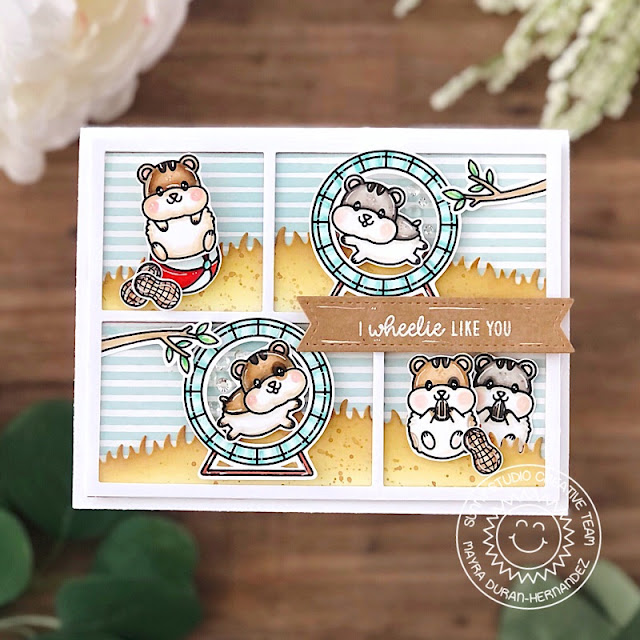 Sunny Studio Stamps: Happy Hamsters Comic Strip Speech Bubble Dies Hamster Themed Card by Mayra Duran-Hernandez
